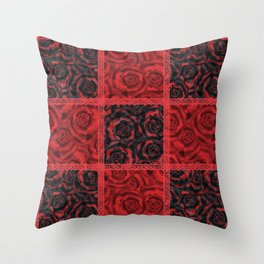 Patchwork . Roses are red. Throw Pillow