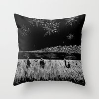 fireworks Throw Pillows featuring Fireworks by Mr.Willow