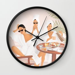 Weekend morning with friends Wall Clock