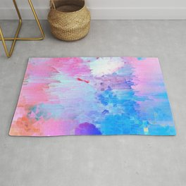 Abstract Candy Glitch - Pink, Blue and Ultra violet #abstractart #glitch Rug