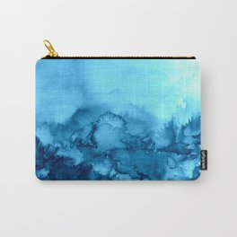 INTO ETERNITY, TURQUOISE Colorful Aqua Blue Watercolor Painting Abstract Art Floral Landscape Nature Carry-All Pouch