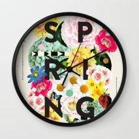spring Wall Clocks featuring SPRING by Dawn Gardner