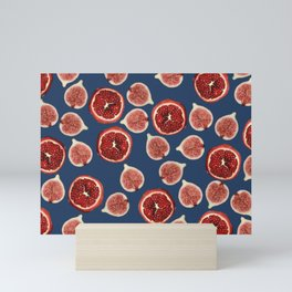 Figs - Pomegranate - blue Mini Art Print