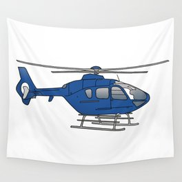 Blue helicopter Wall Tapestry