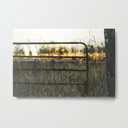 Fence against the sunset Metal Print
