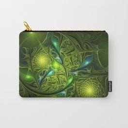Mysterious Green Lights, abstract Fractal Art Carry-All Pouch
