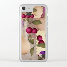 Old scraps of fabric with fruit . Clear iPhone Case