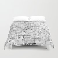houston Duvet Covers featuring Houston Map Gray by City Art Posters