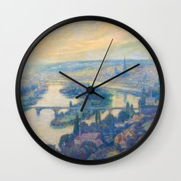 Václav Radimský (1867-1946) View of Rouen Impressionist Landscape Painting Bright Colors Oil Wall Clock