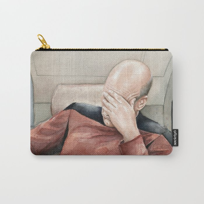Picard Facepalm Meme Funny Geek Sci-fi Captain Picard TNG Carry-All Pouch