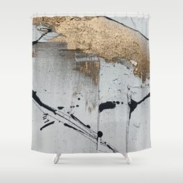 Still: an abstract mixed media piece in black, white, and gold by Alyssa Hamilton Art Shower Curtain
