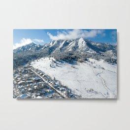 Snowy Flatirons Aerial Metal Print