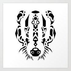 Tribal Badger Art Print