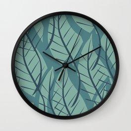 Green Aqua Blue Leaf Pattern Deco Scandinavian Wall Clock
