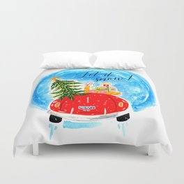 Dashing Through The Snow - Holiday Car Christmas Tree Duvet Cover