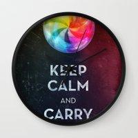 keep calm Wall Clocks featuring Keep Calm by Michael Flarup