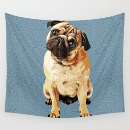 Pug Polygonal Art Wall Tapestry