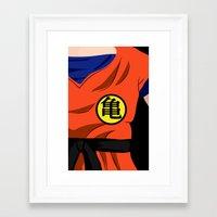 goku Framed Art Prints featuring Goku by Mariana Andrea