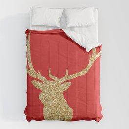 Golden Deer Head Red Background Comforters