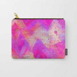 BOLD QUOTATION, Revisited - Intense Raspberry Peachy Pink Vibrant Abstract Watercolor Ikat Pattern Carry-All Pouch