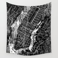 new york map Wall Tapestries featuring New York map by Bekim ART