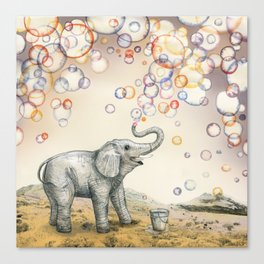 Elephant Bubble Dream Canvas Print