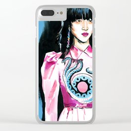 fashion #7. portrait of a dark-haired woman in pink satin dress with a dragon Clear iPhone Case