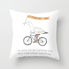 seagulls on bicycles Throw Pillow