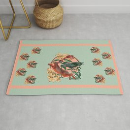 Rabbit Crow and Toad amongst the Lilies  Rug
