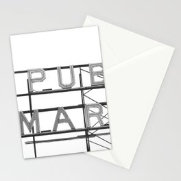 Pike Place Public Farmers Market - Black and White Stationery Cards