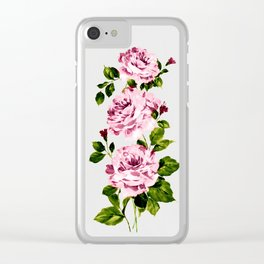 Pink peonies Clear iPhone Case