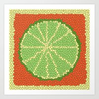 coasters Art Prints featuring LIME MOSAIC by Tanya Pligina