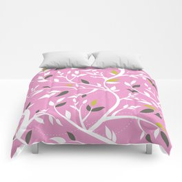 Elegant botanical pattern branches leaves dusty pink Comforters