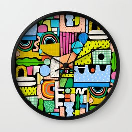 Color Block Collage Wall Clock