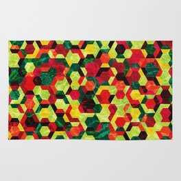 Colorful Half Hexagons Pattern #05 Rug