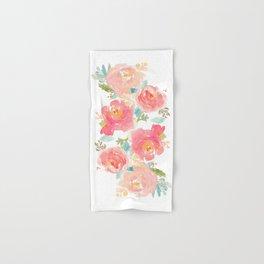 Watercolor Peonies Summer Bouquet Hand & Bath Towel