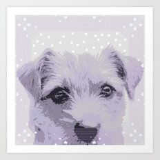 Curious little dog waiting for you - funny dog portrait Art Print