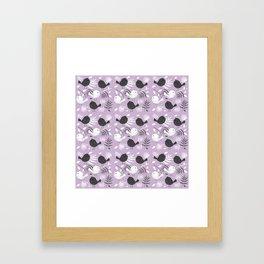 Black and White Birds in Lavender Background Framed Art Print