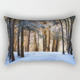 A Winter Morning in the Woods Rectangular Pillow