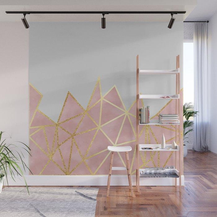 Pink & Gold Geometric Wall Mural