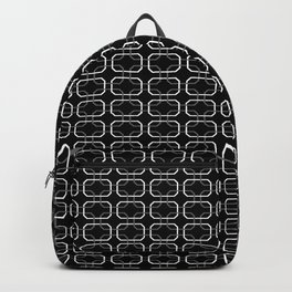 Small Black White and Gray Octagonal interlocking shapes Backpack