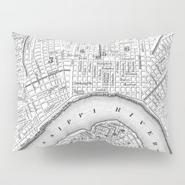 Vintage Map of New Orleans (1880) BW Pillow Sham
