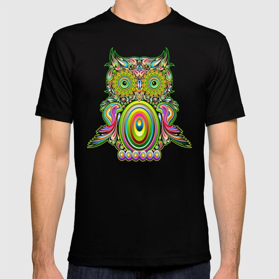 Owl psychedelic art design t shirt by bluedarkart society6 T shirt with owl design