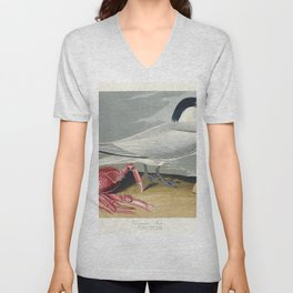 Cayenne Tern from Birds of America (1827) by John James Audubon etched by William Home Lizars Unisex V-Neck