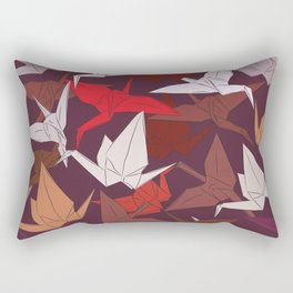 Japanese Origami paper cranes symbol of happiness, luck and longevity, sketch Rectangular Pillow