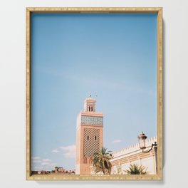 Mosque tower | Marrakech Morocco Travel photography | Wanderlust photo art Serving Tray