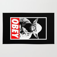 obey Area & Throw Rugs featuring Obey Yoda - Star Wars by YiannisTees