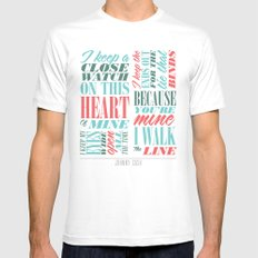 Walk the Line White MEDIUM Mens Fitted Tee