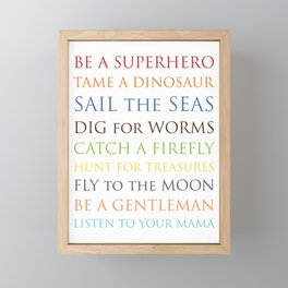 Be A Superhero, rainbow multi-color palette Framed Mini Art Print