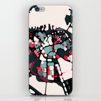 boston map iPhone & iPod Skins featuring Abstract Map- Boston Harbor by Carland Cartography